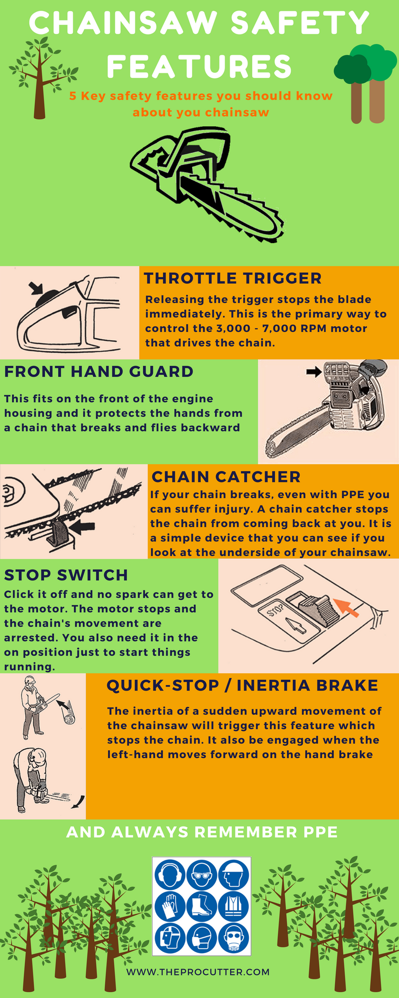 Chainsaw safety the cutting professionals chainsaw safety info graphic greentooth Images