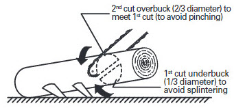 log cutting supported 1 end